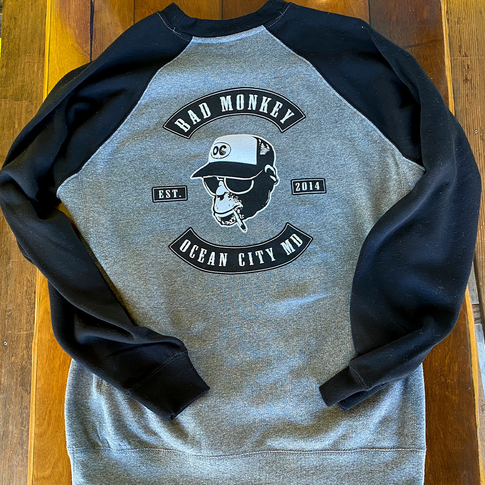 Bad Monkey Biker Patch Raglan Crew Sweatshirt