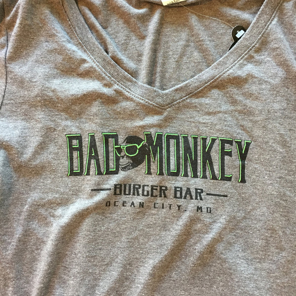 Bad Monkey Burger Bar Ladies V-Neck T-Shirt