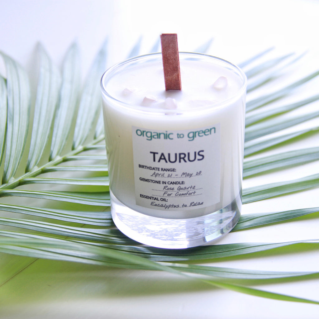 Taurus - Zodiac Candle With Gemstone