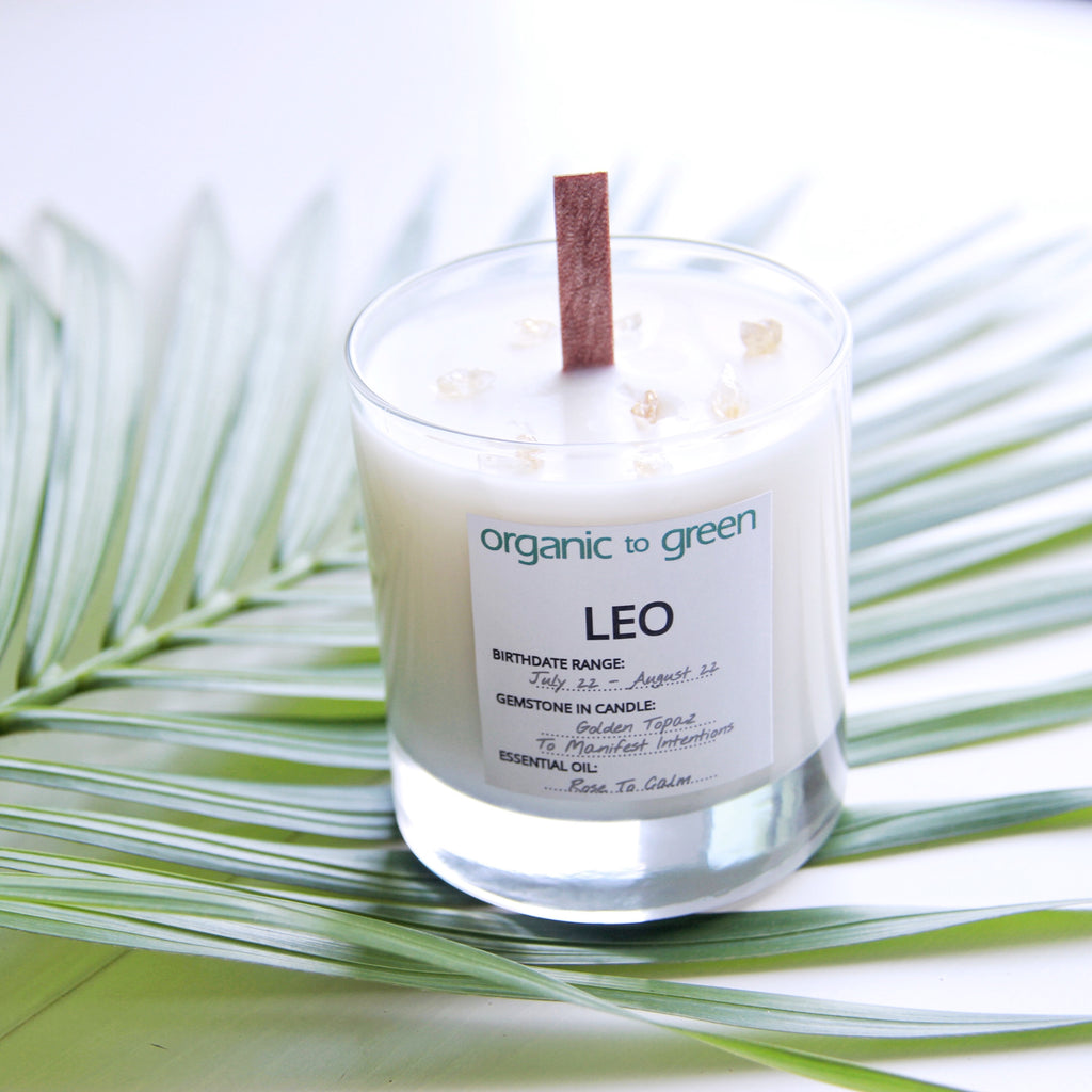 Leo - Zodiac Candle With Gemstone