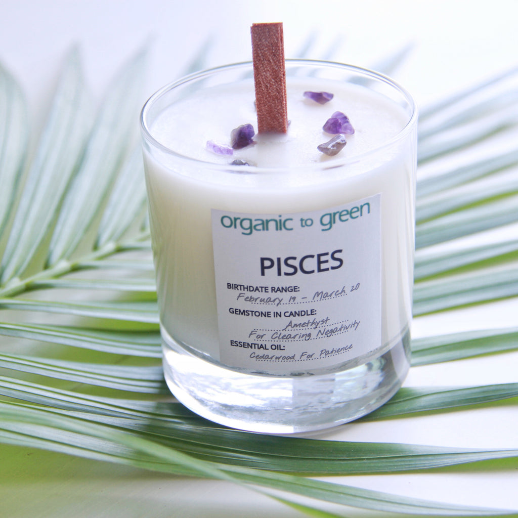 Pisces - Zodiac Candle With Gemstone