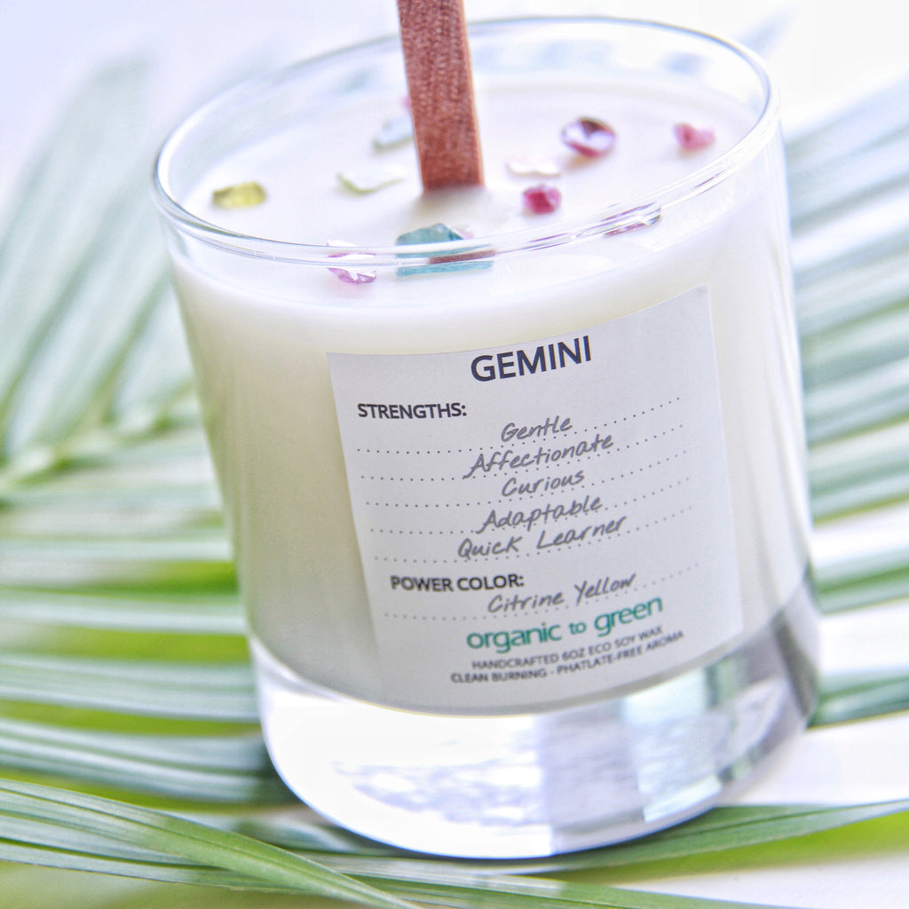 Gemini - Zodiac Candle With Gemstone