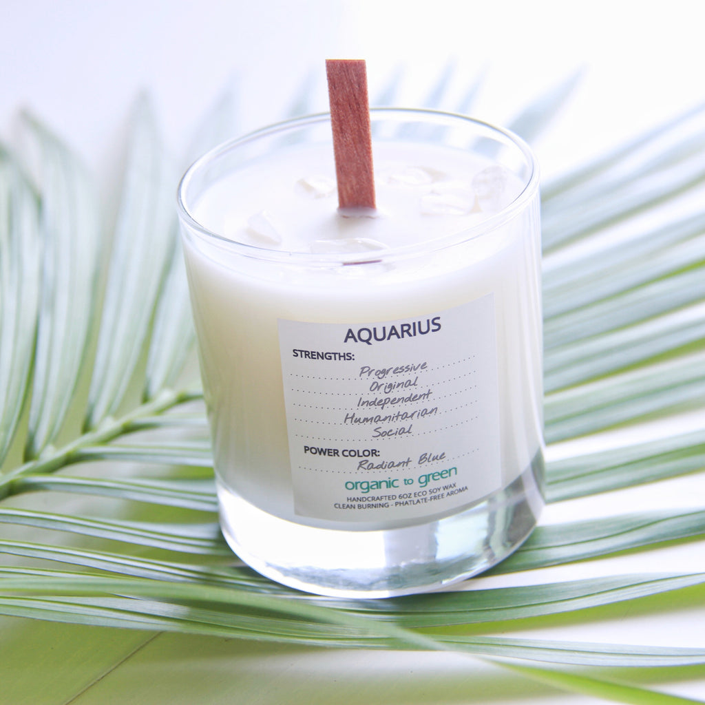 Aquarius - Zodiac Candle With Gemstone