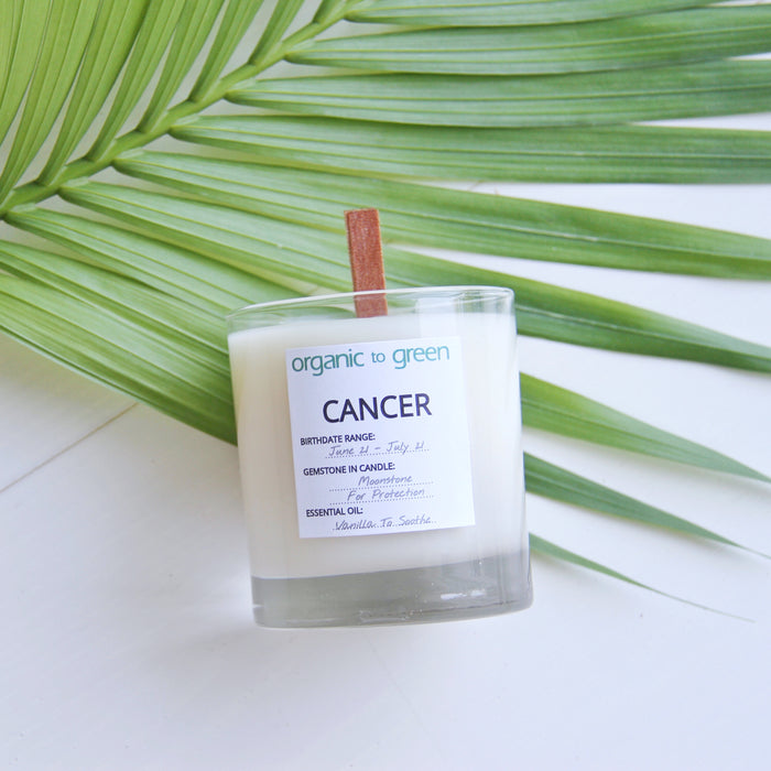 Cancer - Zodiac Candle With Gemstone