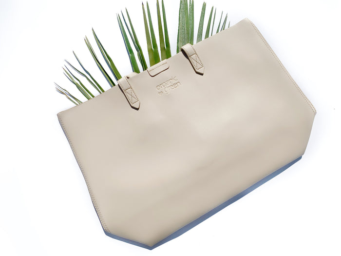Designer Vegan Leather Cruelty-Free Tote - Creme