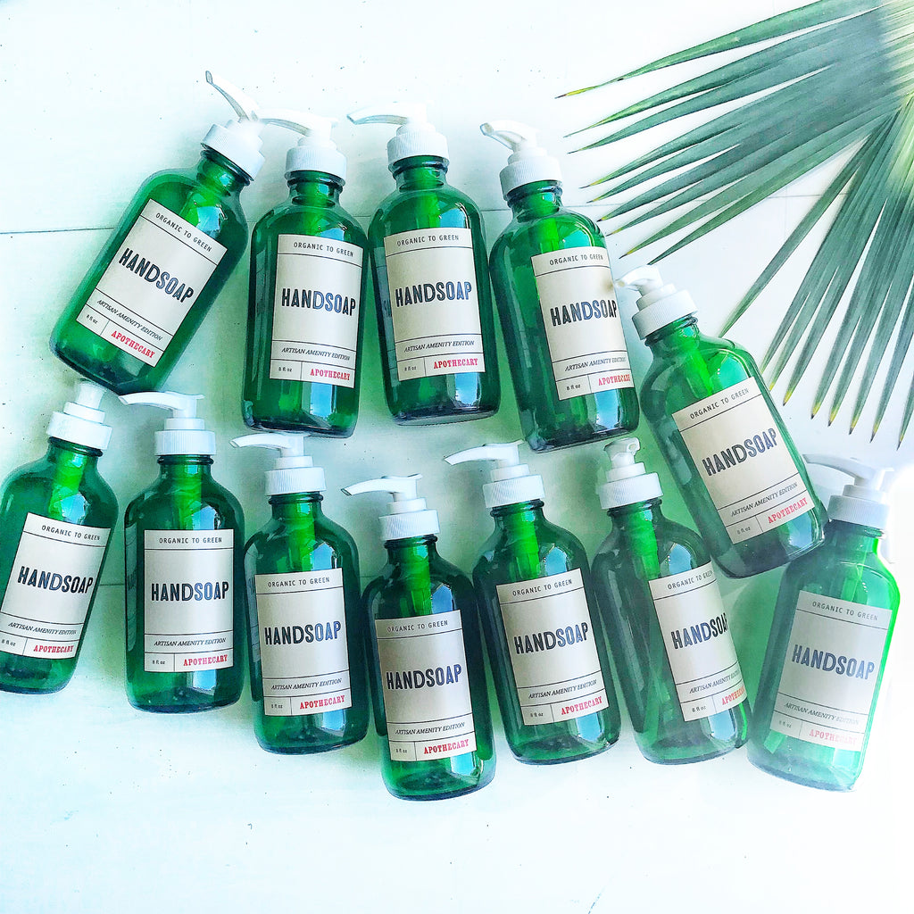 Hand Soap Green Glass Bottle - Wholesale Rain Collection - Case of 12