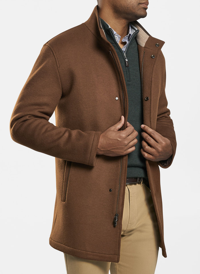 Peter Millar Crown Flex Fleece City Coat, Brown