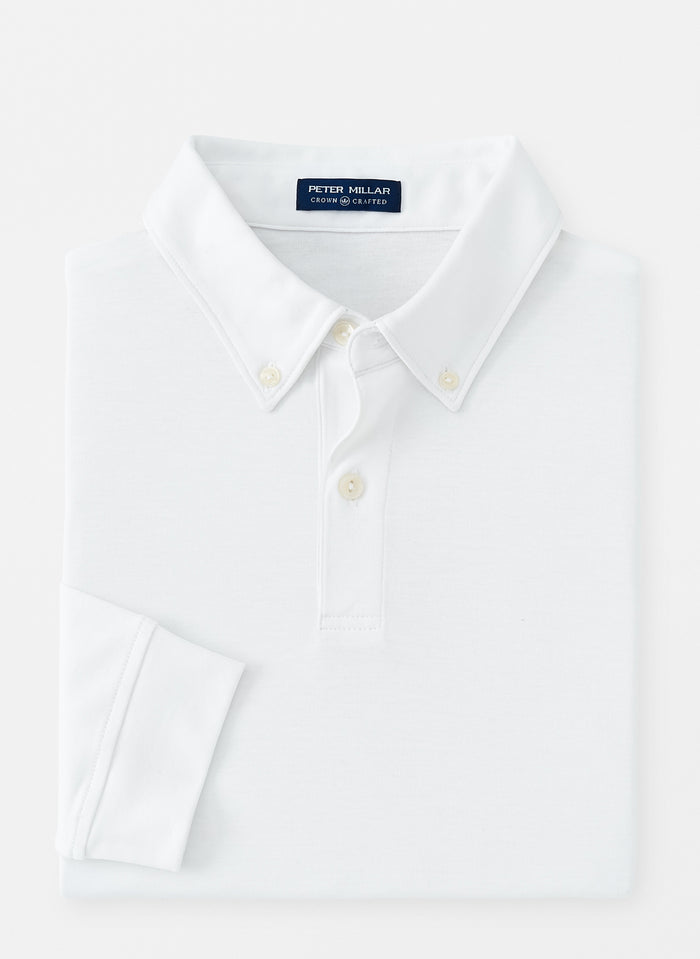 Peter Millar Champ Performance Long Sleeve Polo, White