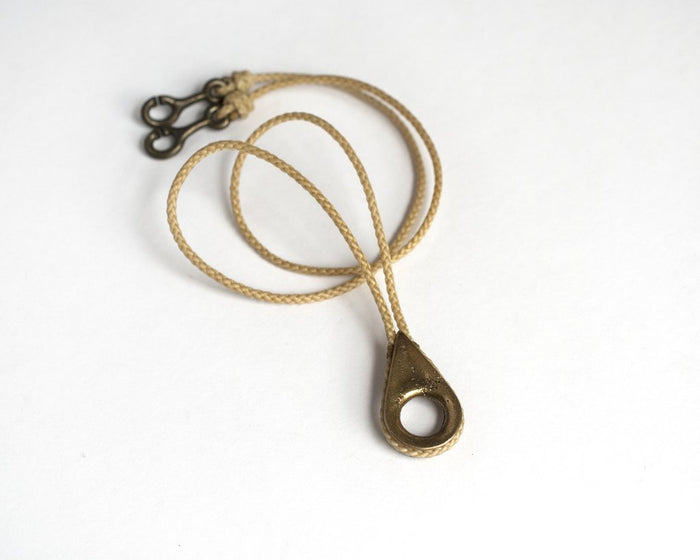 Cat Bates Thimble Necklace, Brass + Brown Cord
