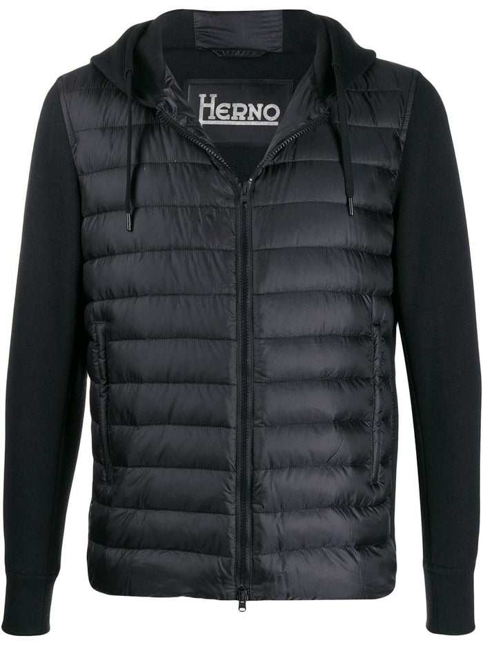 Herno Down Jersey Hoodie Zip Front Jacket, Black