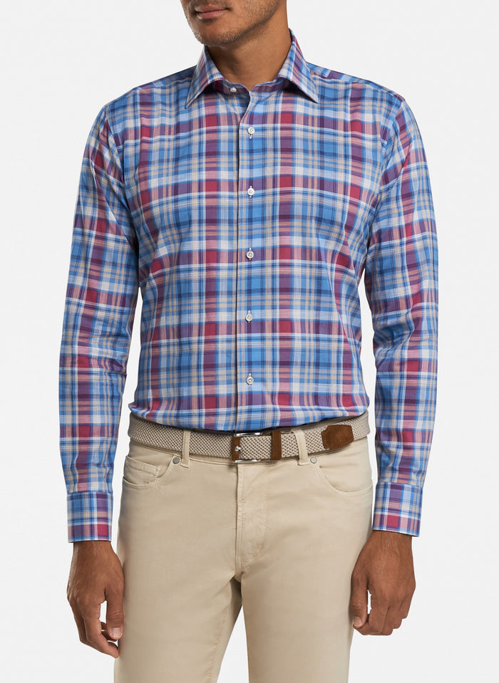 Peter Millar Solstice Chambray Madras, Blue Cielo