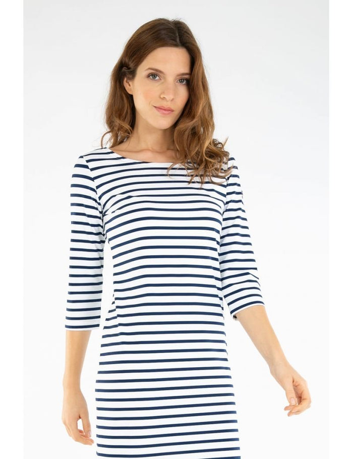 Armor-Lux 3/4 Sleeve Striped Dress (78291), Navy/Porcelaine