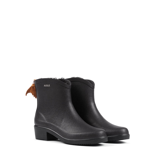 Aigle Miss Juliette Fur Lined Ankle Boot, Black