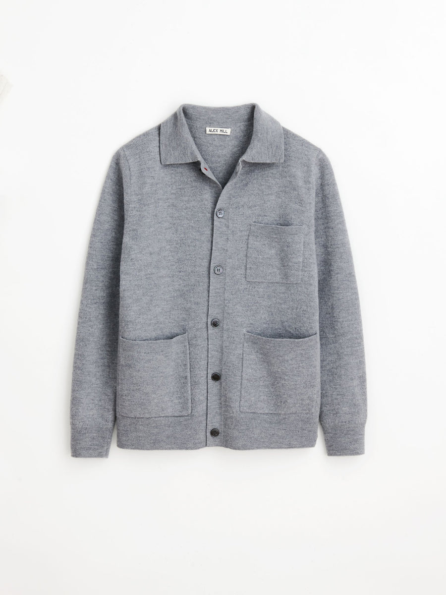 Alex Mill Work Jacket in Boiled Wool, Light Grey