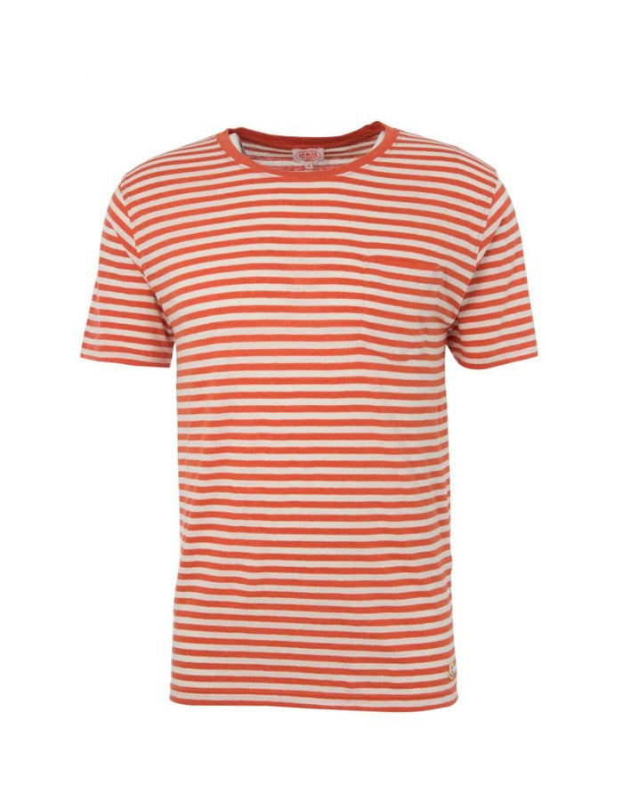 Armor-Lux Breton Stripe SS Heritage Shirt (76023), Orange Henne/Nature