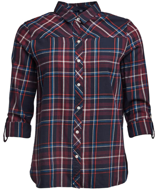 Barbour Paddle Shirt, Navy/Deep Pink