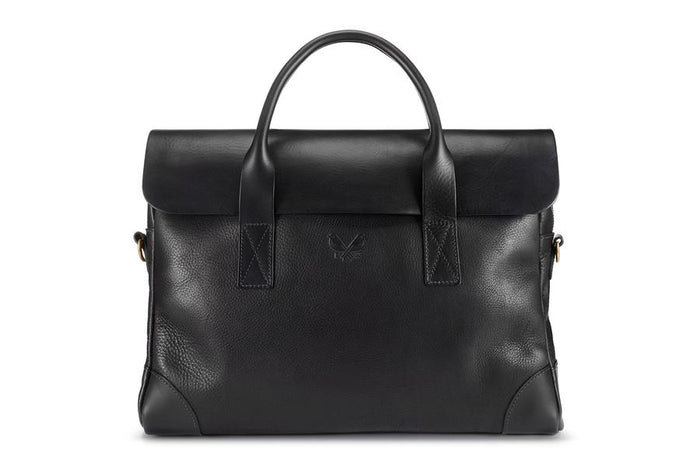 Bennett Winch Leather Brief, Black