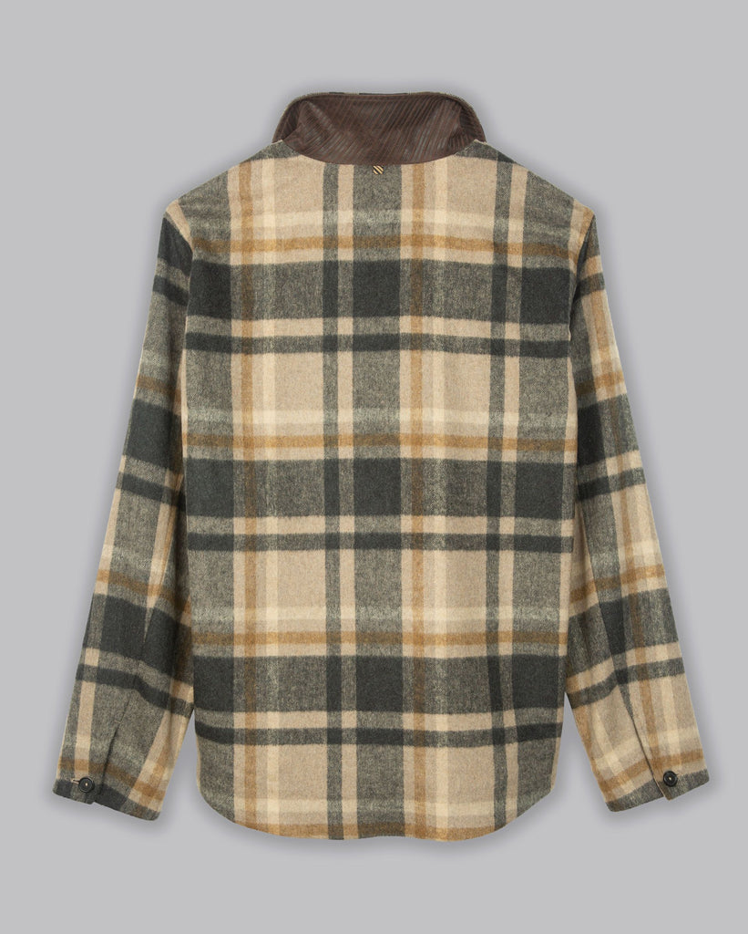Billy Reid Plaid Mo Shirt Jacket, Black/Tan