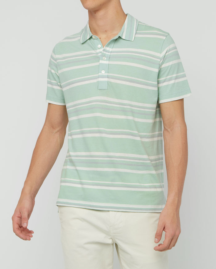 Billy Reid Stripe Polo, Sea Green