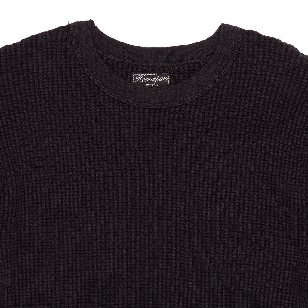 Homespun Knitwear Bulky Waffle Crew Thermal, Black