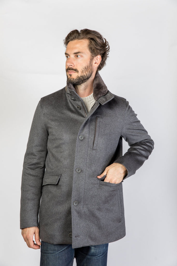 Herno Cashmere Short Car Coat W/ Removable Collar, Gray