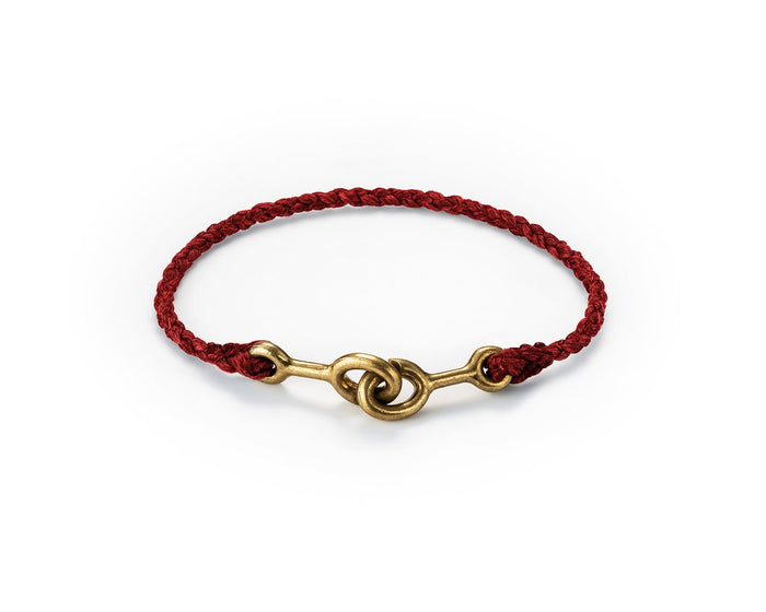 Cat Bates Hand Braided Sister Clasp Bracelet, Brass w/ Red Braid