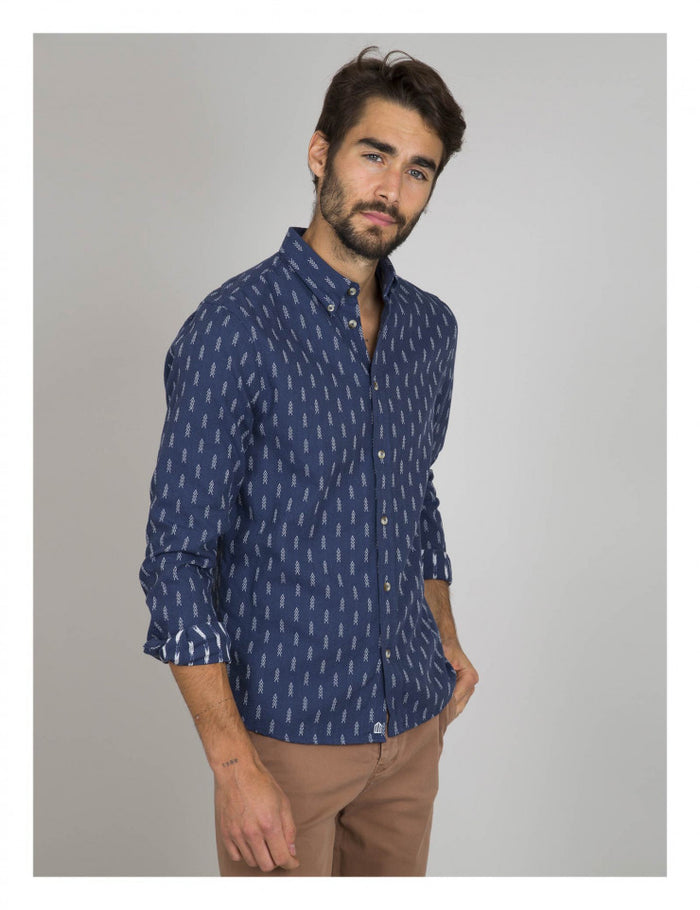 Cuisse De Grenouille Button Down Shirt, Navy/White