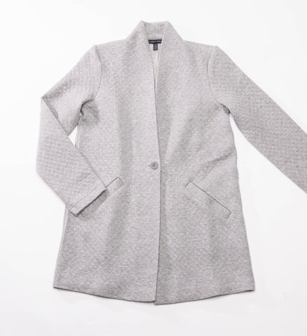 Eileen Fisher Double Knit Diamond Shawl Collar Jacket, Moon