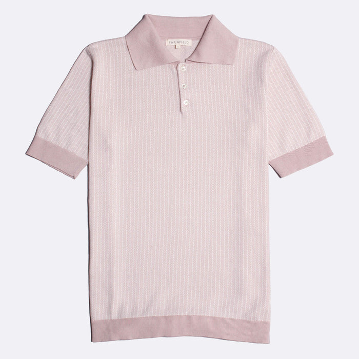 Far Afield Blake Short Sleeve Polo, Rose Dust / Snow White