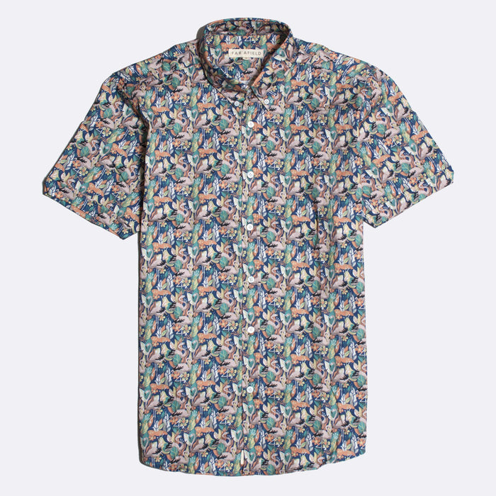 Far Afield Mod Button Down Short Sleeve Shirt, Flamencos