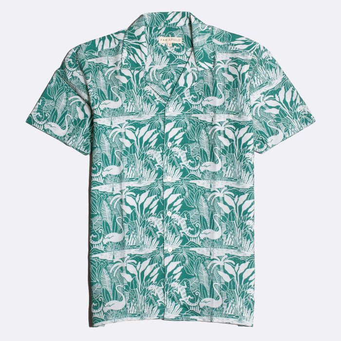 Far Afield Selleck S/S Shirt, Linen Salines Green