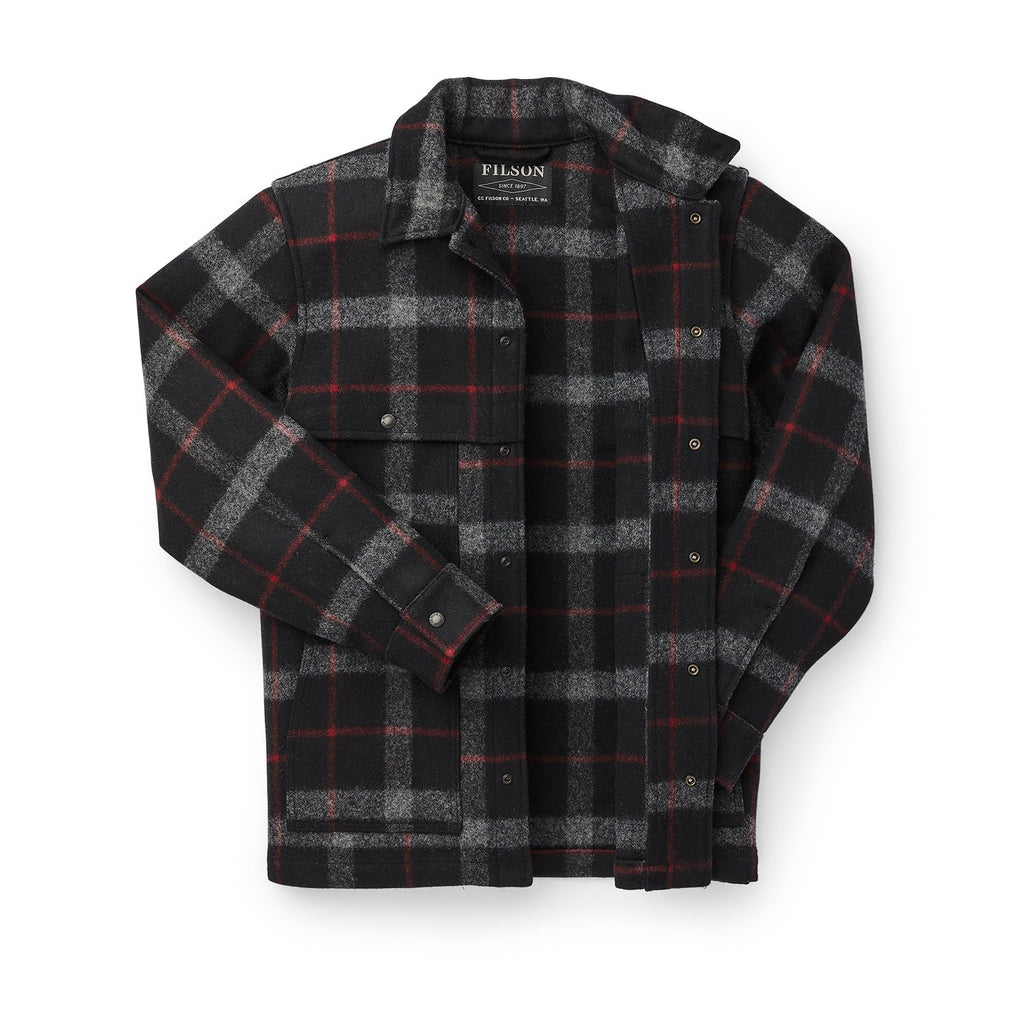 Filson Unlined Cape Coat, Black/Red/Gray Plaid
