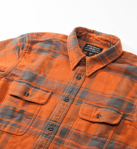 Filson Vintage Flannel Work Shirt, Orange/Charcoal