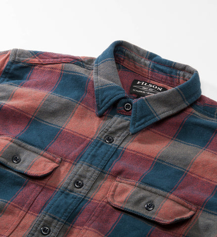 Filson Vintage Flannel Work Shirt, Rust/Blue/Charcoal