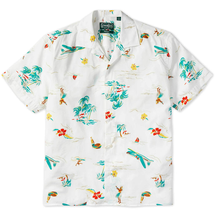 Gitman Vintage Button Down Camp Shirt, White Surf & Turf