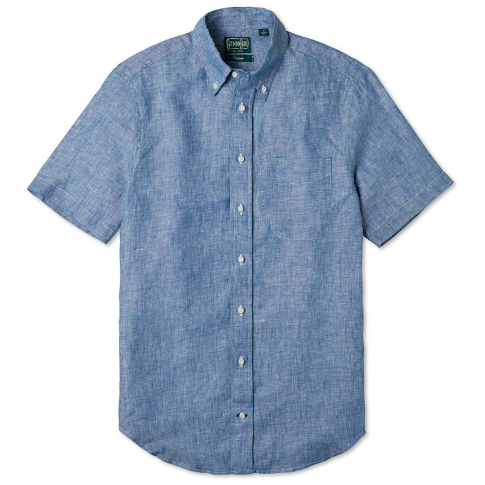 Gitman Bros. Linen Button Down Shirt, Blue Chambray