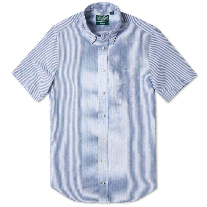 Gitman Bros. Linen Button Down Shirt, Blue Stripe