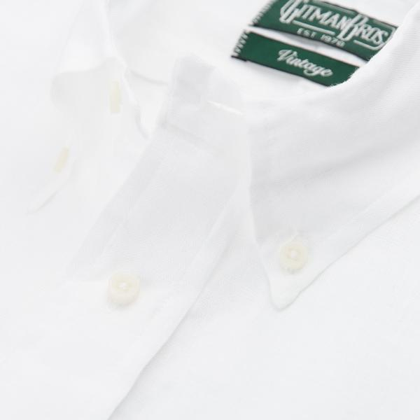 Gitman Bros. Linen Button Down Shirt, White