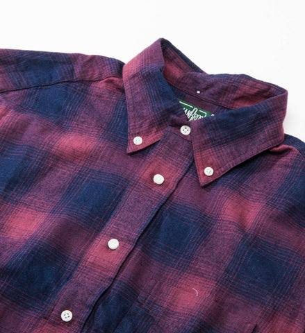 Gitman Vintage Burgundy / Indigo Flannel Button Down Shirt