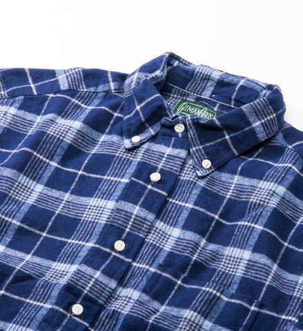 Gitman Vintage Brushed Plaid Flannel Button Down Shirt, Blue