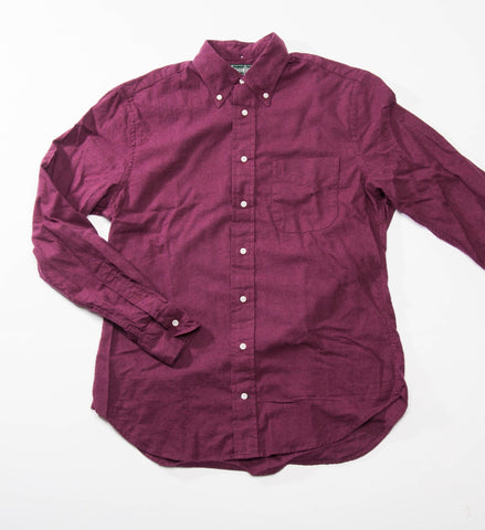 Gitman Vintage Solid Flannel Button Down Shirt, Burgundy