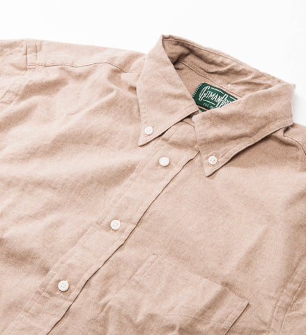 Gitman Vintage Solid Flannel Button Down Shirt, Tan