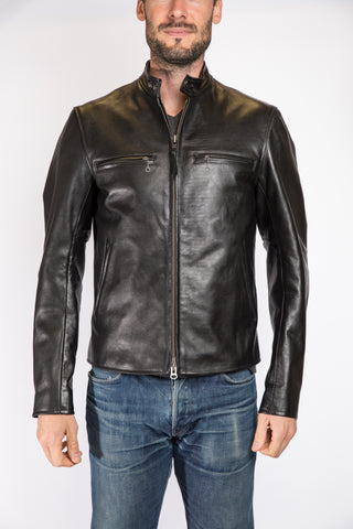 Golden Bear Sportswear Banded Collar Moto Jacket, Black