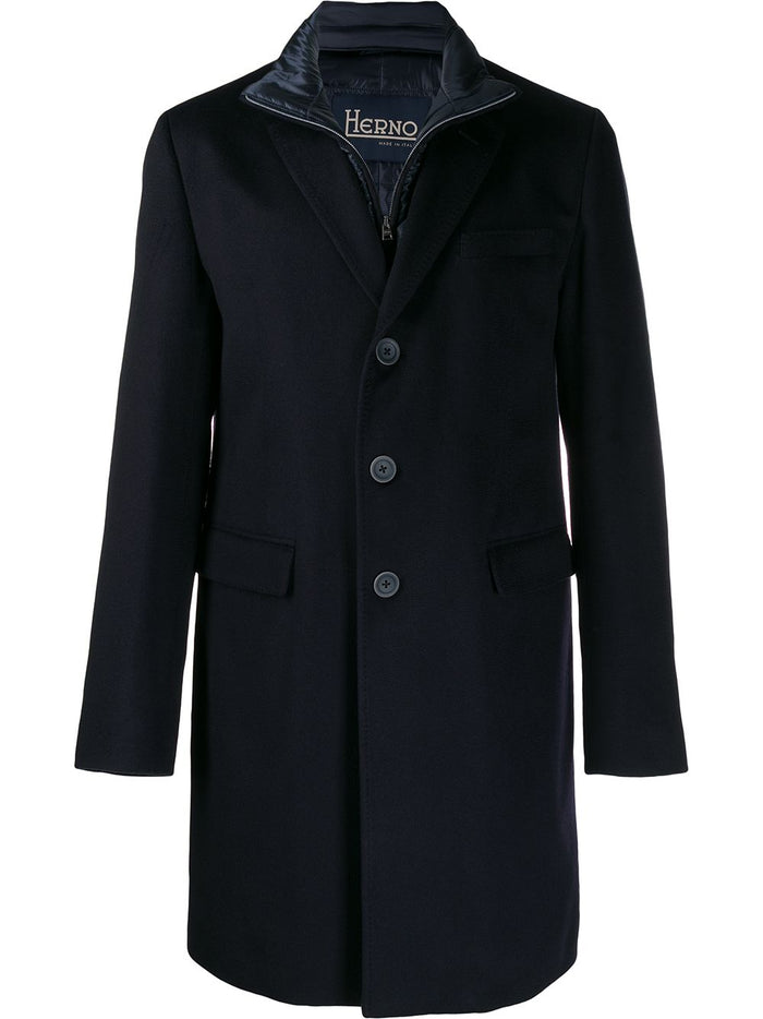 Herno Cashmere Coat With Nylon Ultralight Bib (CA0091U), Dark Navy