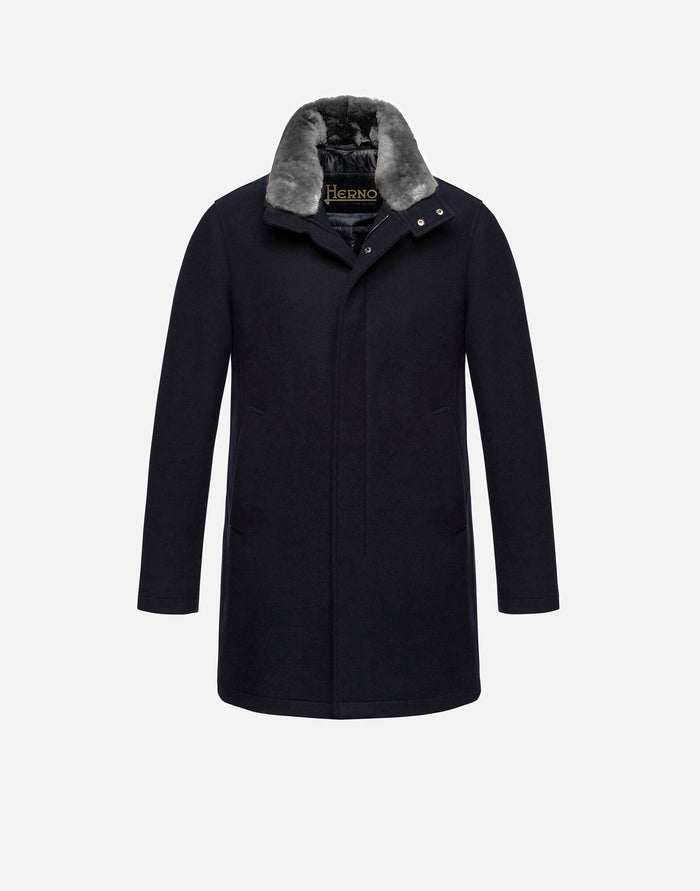 Herno Diagonal Wool Carcoat With Fur (CA0071U), Dark Navy