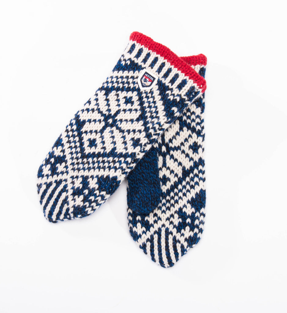 Hestra Nordic Wool Mitt, Blue / Off White