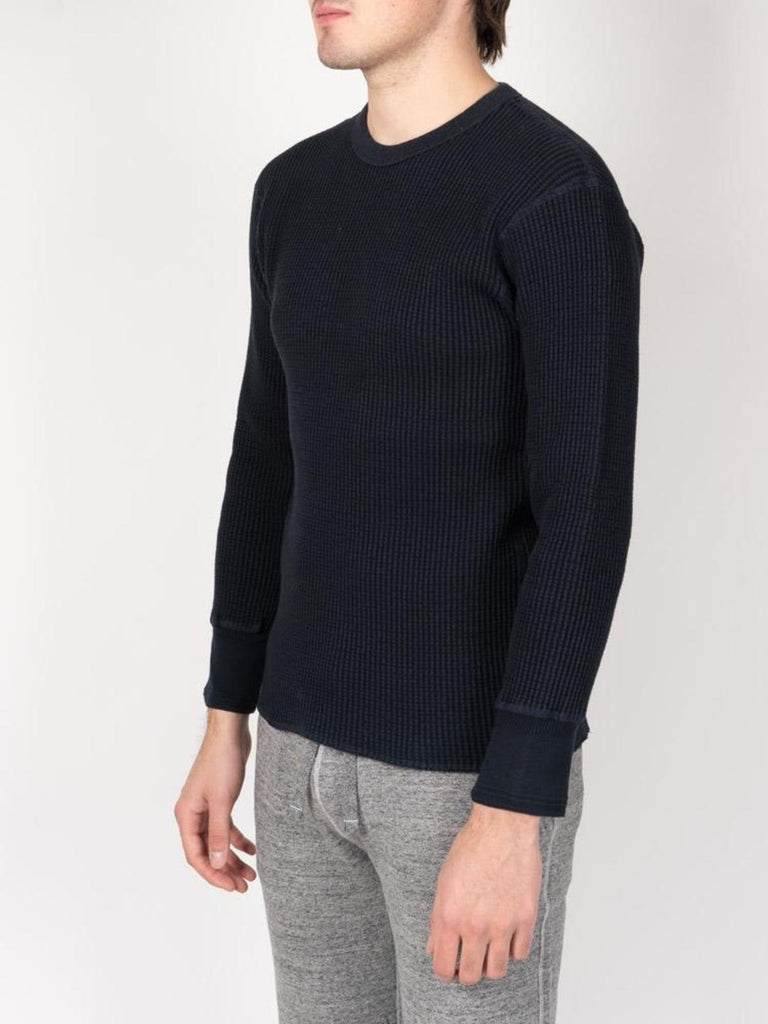 Homespun Knitwear Bulky Waffle Crew Thermal, Midnight