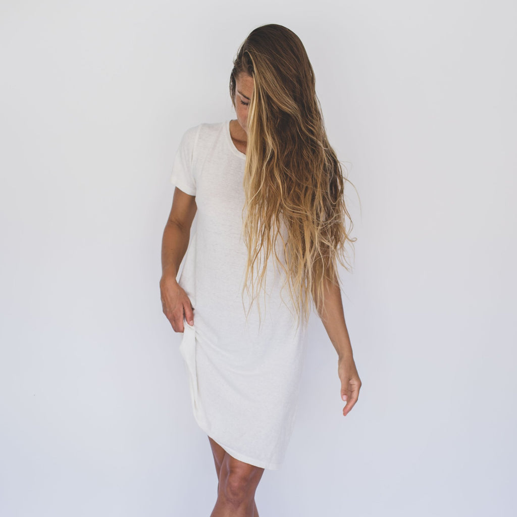 Jungmaven Rae Line Dress, Washed White