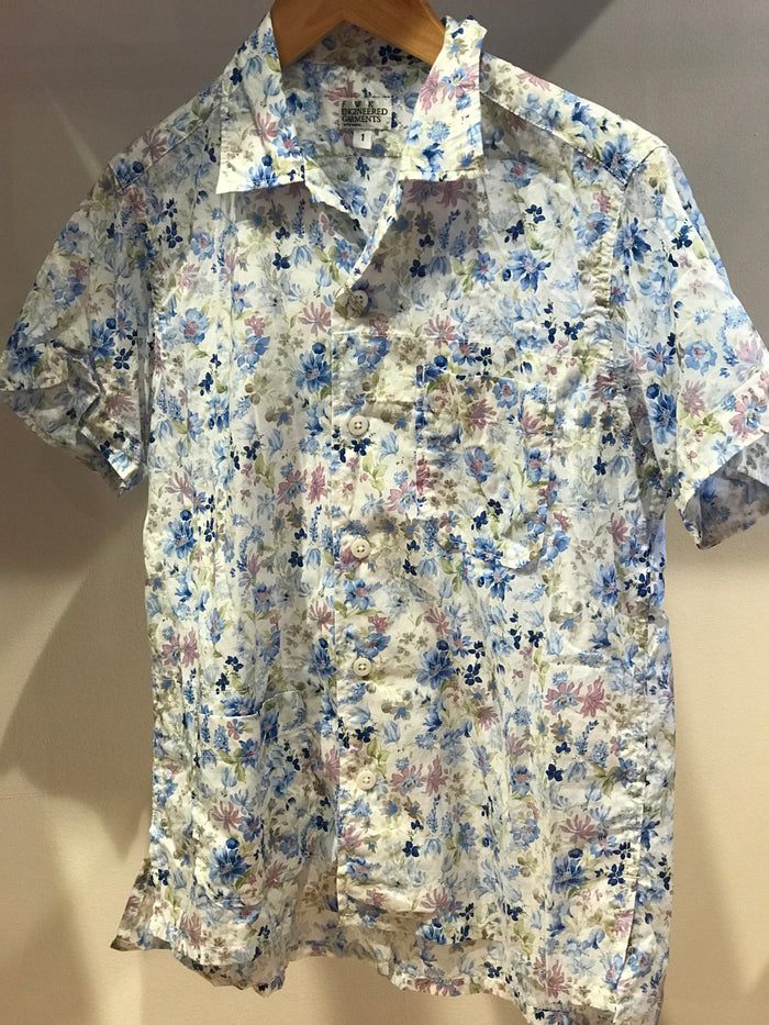 FWK Camp Shirt, White Floral Blossom Sheeting