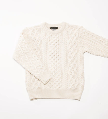 Men's Ireland's Eye Honeycomb Stitch Blasket Aran Sweater, Natural